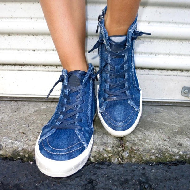 Women's Washed Denim Comfy Sneakers