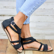 Women's Adjustable Buckle Low Heel Braided Strap Daily Gladiator Sandals