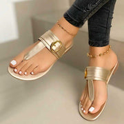 Women's Chic Buckle Leather Slippers