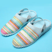 Women's Rainbow Flyknit Daily Summer Round Toe Home  Sandals