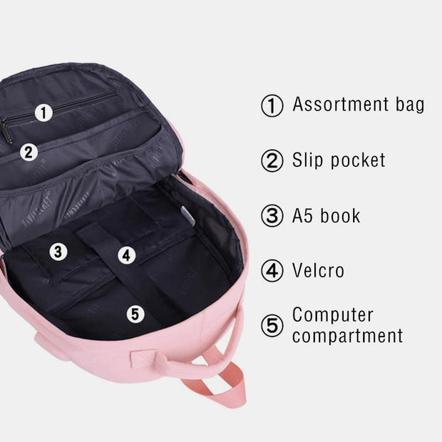 Women's Large Capacity Waterproof School Travel Backpack With Reflective Strip