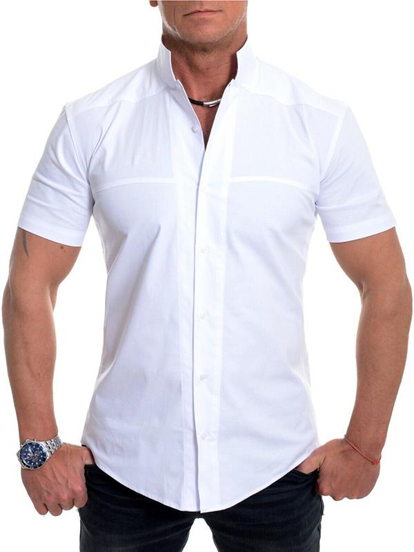 Collarless Mens Short Sleeve Slim Fit Holiday Formal Cotton Collar Shirt