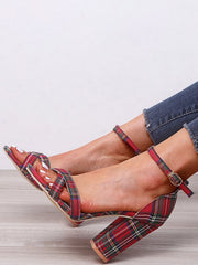 Women's Ankle Strap Plaid Chunky Heels