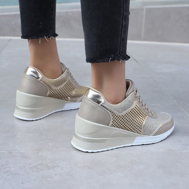 Women's Fashionable Shiny Breathable High Heeled Sneakers