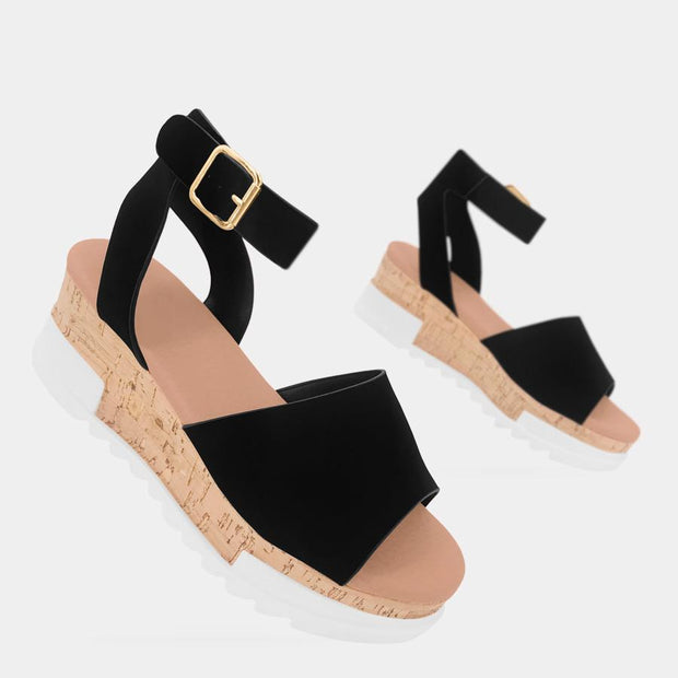 Women's Buckle Snake Leather Platform Sandals