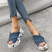Women's Denim Alphabet Open Toe Buckle Strap Creepers Platform Sandals