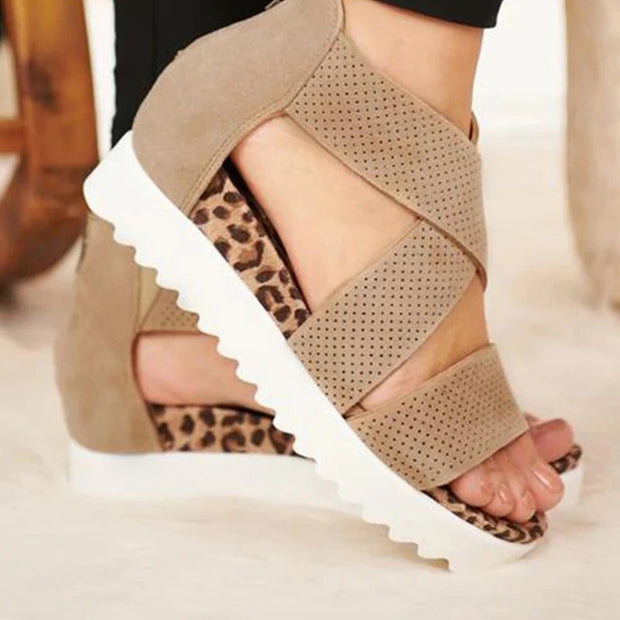 Women's Back Zipper Perforated Platform Wedge Sandals