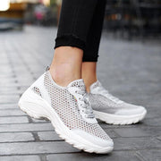 Women's Athletic Mesh Hollow-out Lace-up Platform Sneakers