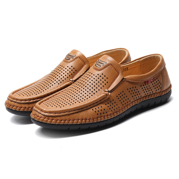 Men Hand Stitching Genuine Leather Hole Non-slip Slip On Casual Shoes