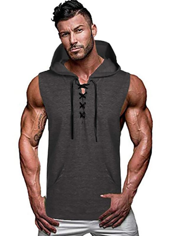 Men's casual hooded vest pure color sleeveless vest