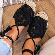 Women's Summer Woven Lace Knot Tassel Princess Sandals