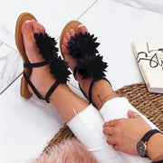 Women's Floral Buckle Ankle Strap Flat Sandals