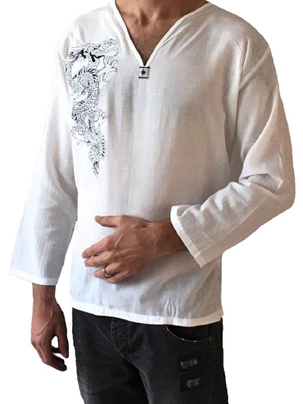 Men's White Dragon 100% Cotton Hippie Top T-shirt