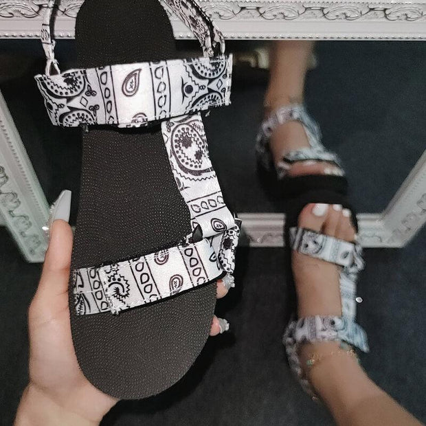 Women's Fabric Characteristic Pattern Open Toe Velcro Flat Heel Sandals