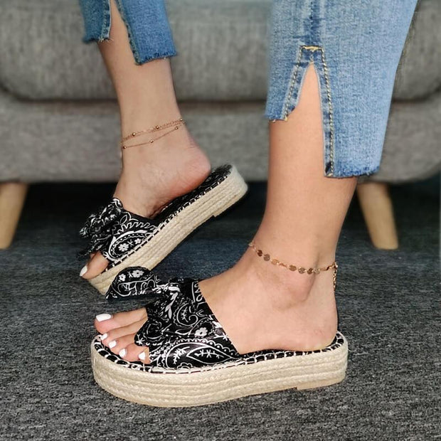Women's Fabric Characteristic Pattern Bowknot Slip On Creepers Platform Slippers