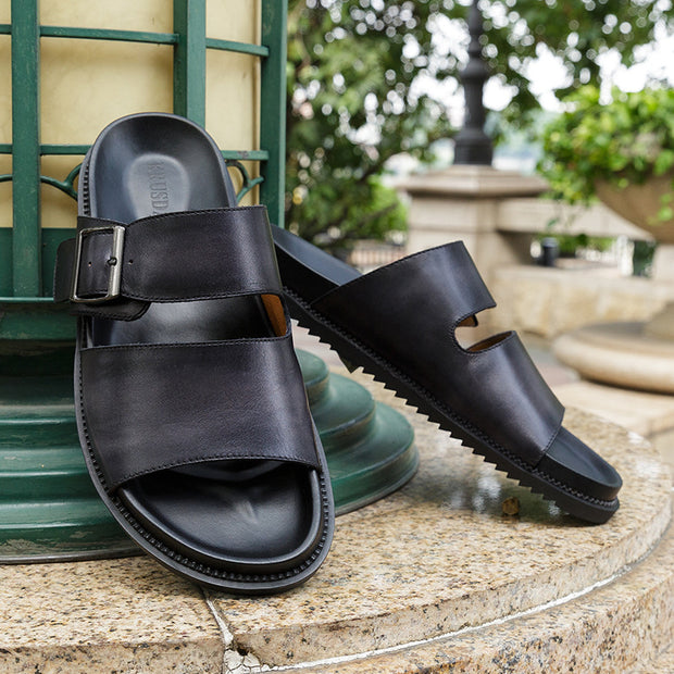 Men's Genuine Leather Casual Beach Sandals