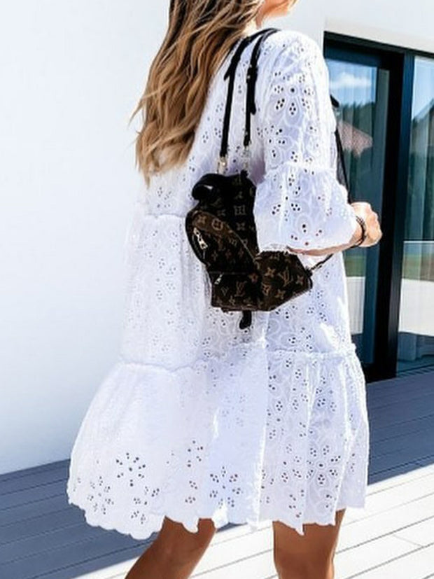 Women Cutout Flower Bell Sleeves Sweet Dresses