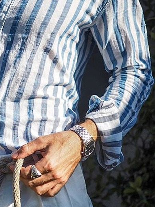 Men's Blue Striped Casual Shirts & Blouses & Shirts