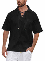 Men Solid Short Sleeve V-Neck Drawstring Retro Beach Yoga Tops