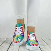 Women's Trendy Tie Dye Lace Up Sneakers