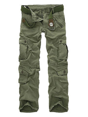 Men Military Tactical Multi-pockets Trousers Washed Overalls Sports Cargo Pants