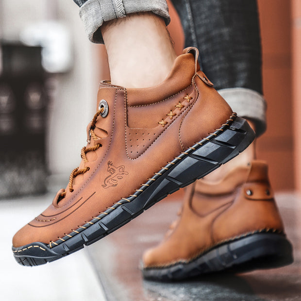 Men's Outdoor Hand-stitched Leather Hiking Ankle Boots