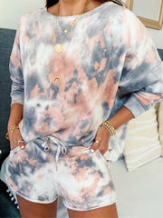 Women Tie-Dye Print Long Sleeves Top Drawstring Shorts Casual Suit Sets
