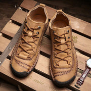 Men Hand Stitching Vintage Microfiber Leather Lace Up Comfy Soft Ankle Boots