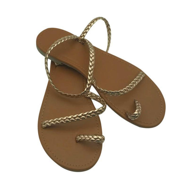 Women Flip Flops Weaving Casual Beach Flat With Shoes Rome Style Female Sandal Low Heels 131090
