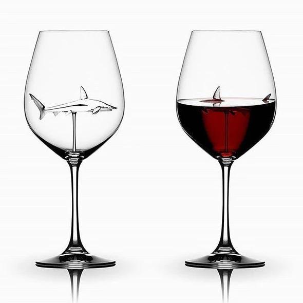 (BUY 2 & GET 1 FREE TODAY) SHARK RED WINE GOBLET (Handmade)