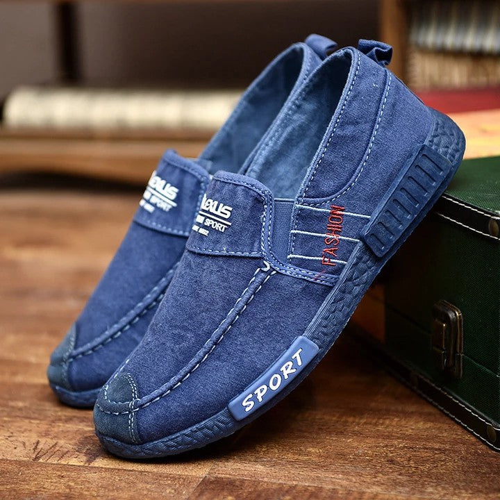 Men's Washed Canvas Soft Sole Slip On Casual Shoes