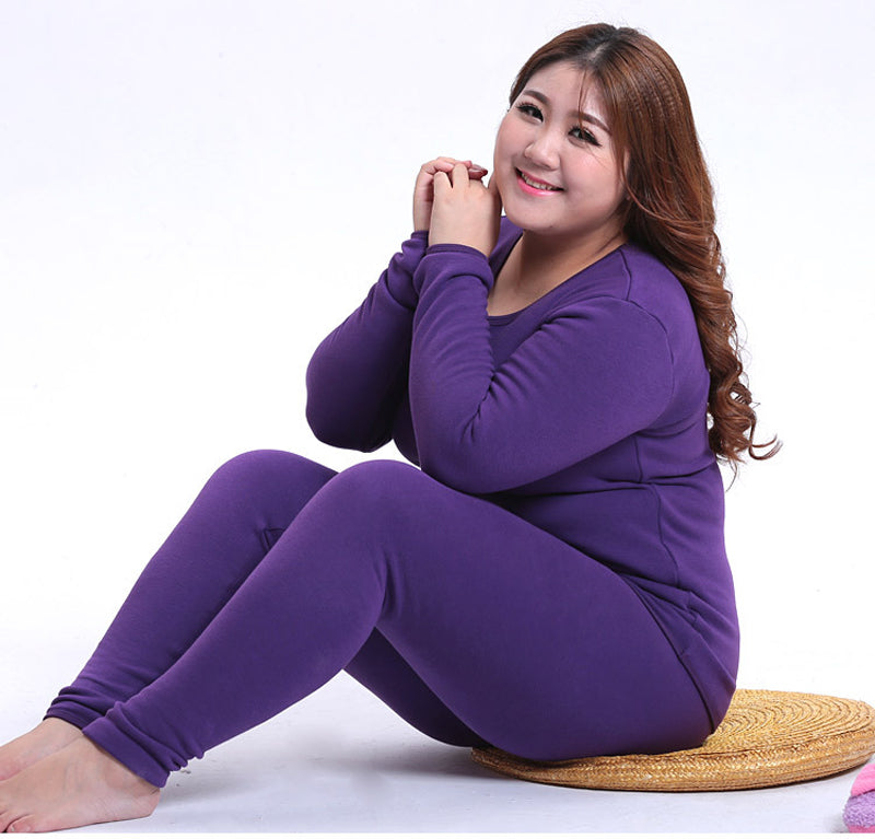 New Winter Women's Fleece Thick Warm Thermal Underwear  Plus Size