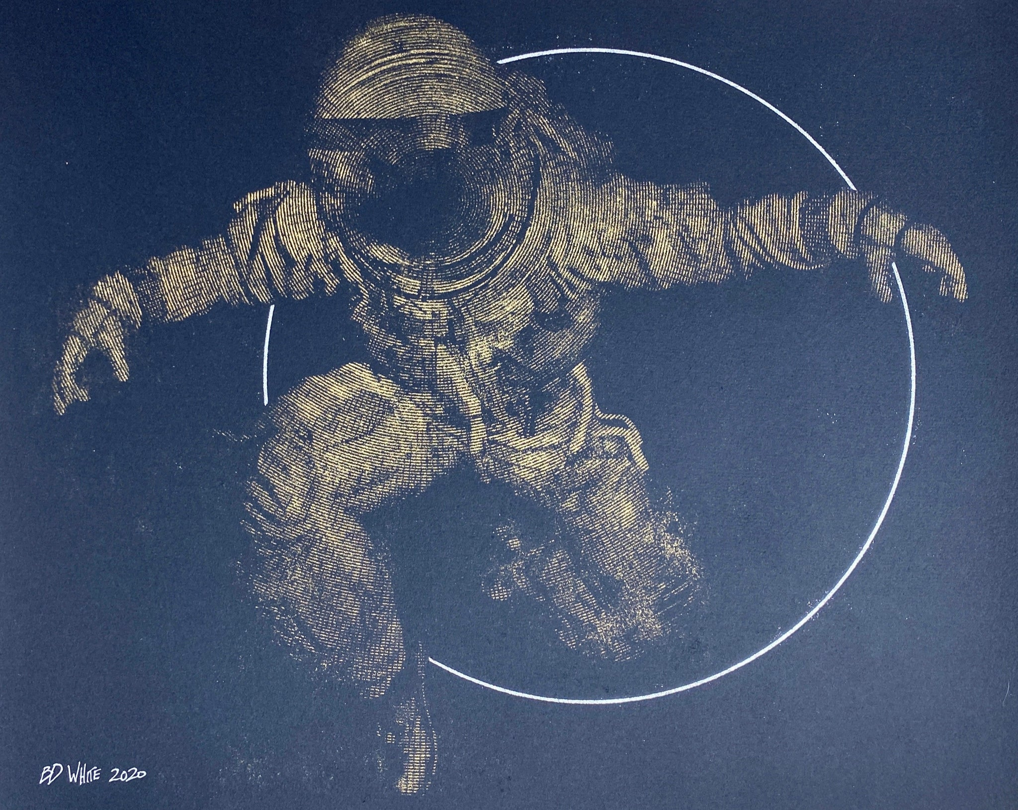 Spaceman + Sun circle (Original on paper - gold)