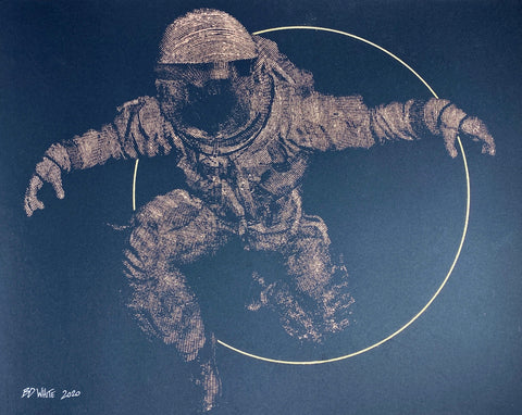 Spaceman + Sun circle (Original on paper - copper)