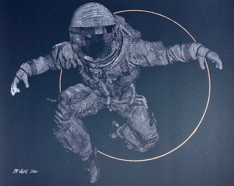Spaceman + Sun circle (Original on paper - silver)