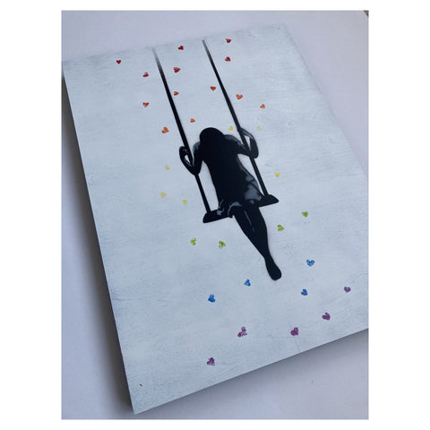Swinging through Showers of Affection - Rainbow Wood Panel