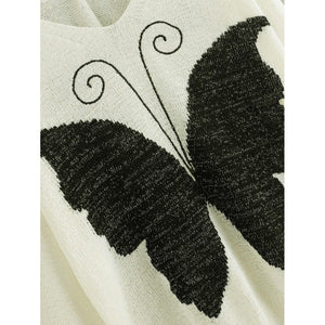 Butterfly Print Criss Cross Back Jumper