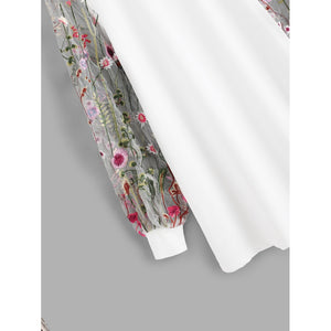Botanical Embroidered Mesh Sleeve Longline Pullover
