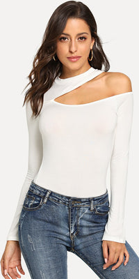 Asymmetrical Neck Slim Fitted Tee