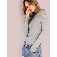 Load image into Gallery viewer, Brushed Off Shoulder Top HEATHER GREY