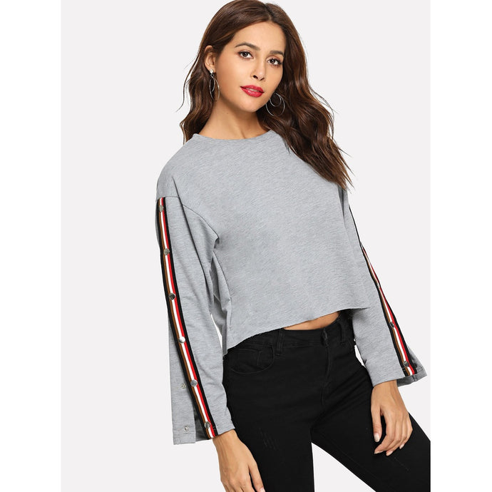 Striped Side Button Split Sleeve Sweatshirt