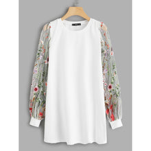 Load image into Gallery viewer, Botanical Embroidered Mesh Sleeve Longline Pullover