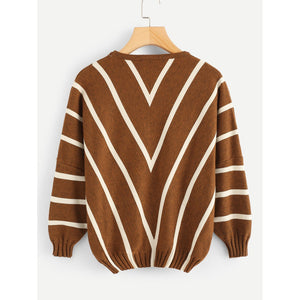 Bishop Sleeve Chevron Sweater