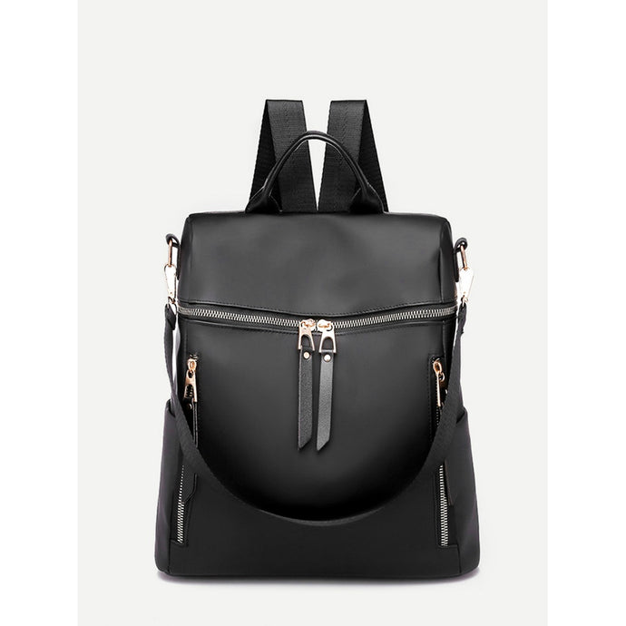 Zip Decor Nylon Backpack