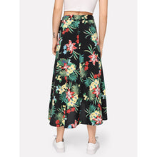 Load image into Gallery viewer, Botanical Print Overlap Dip Hem Skirt