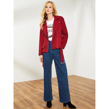 Load image into Gallery viewer, Belted Hem Suede Biker Jacket