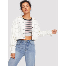 Load image into Gallery viewer, Bow Split Back Crop Denim Jacket