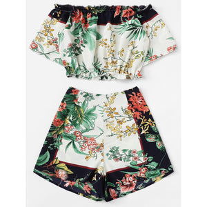 Botanical Print Crop Bardot Top & Shorts Set