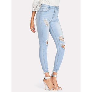 Bleach Wash Ripped Raw Hem Jeans