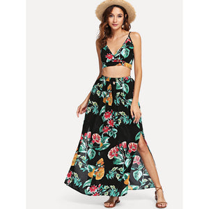 Botanical Print Surplice Wrap Crop Top and Skirt Set
